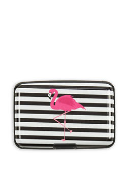 Striped Flamingo Print Card Wallet - 3163067441177