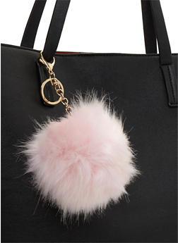 Faux Fur Pom Pom Keychain - 3163067447001