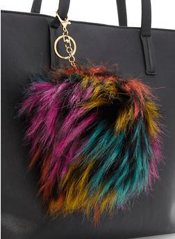 Large Multi Color Pom Pom Keychain - 3163067447028