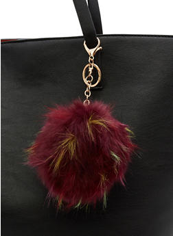 Faux Fur Multi Colored Pom Pom Keychain - 3163067447034