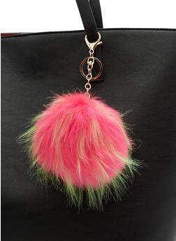 Faux Fur Multi Colored Pom Pom Keychain - 3163067447034
