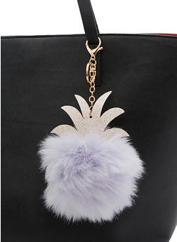 Faux Fur Pom Pom Crown Keychain - 3163067447035