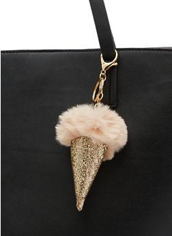 Faux Fur Ice Cream Cone Pom Pom Key Chain - 3163067447037
