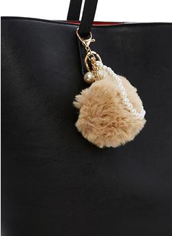 Faux Pearls Pom Pom Keychain - 3163067447039