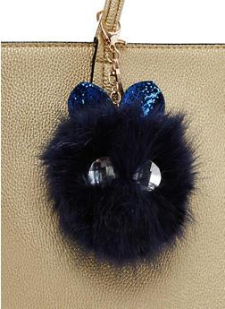 Rhinestone Ears Pom Pom Keychain - 3163067447040