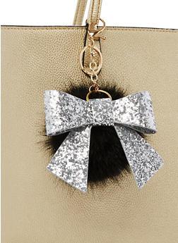 Glitter Bow Pom Pom Keychain - 3163067447041