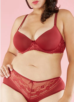 Plus Size Lace Trim Plunge Bra - 3169035163334