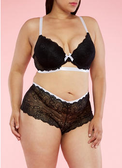 Plus Size Lace Bra with Contrast Trim - 3169064874707