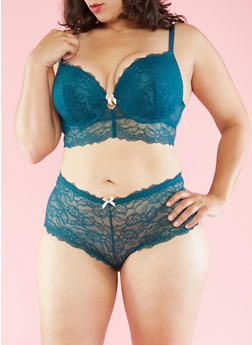 Plus Size Lace Balconette Bra - 3169064877553