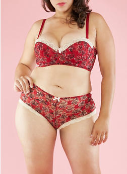 Plus Size Floral and Lace Balconette Bra - 3169064878342