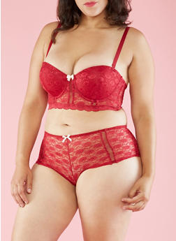 Plus Size Lace Balconette Bra - 3169064878642