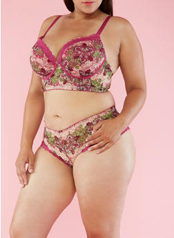 Plus Size Printed Lace Balconette Bra - 3169068060039