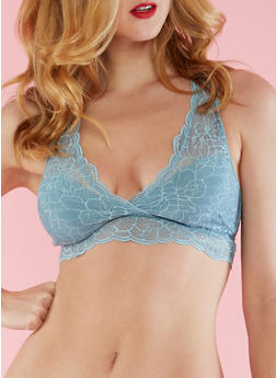 Lined Lace Bralette - TEAL - 3172068060703