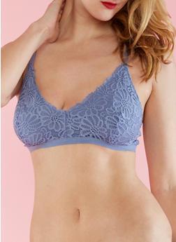 Crochet Bralette with Caged Band - BLUE DENIM (STONEWASH) - 3172068068397