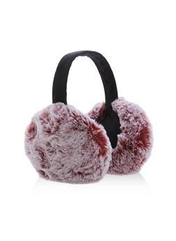 Two Tone Faux Fur Earmuffs - BURGUNDY - 3183067444704