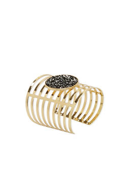Caged Cuff Bracelet with Druzy Stone - 3193003200229