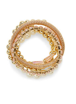 Set of 5 Assorted Pearl and Mesh Stretch Bracelets - 3193003200248