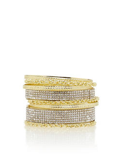 Set of 8 Rhinestone and Chain Bangles - 3193003200250