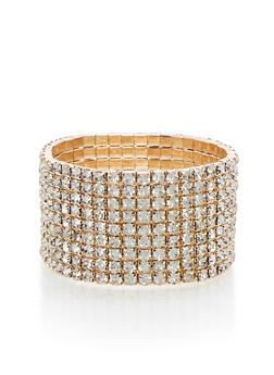 Rhinestone Stretch Cuff Bracelet - 3193003200841