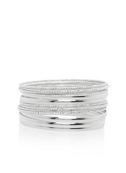 Set of 13 Etched and Solid Bangles - 3193018432982