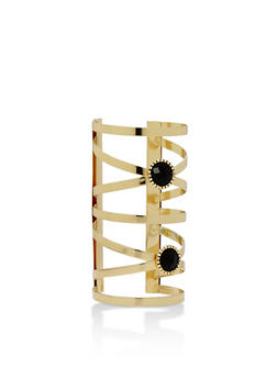 Long Cuff Bracelet with Gems - 3193018436241