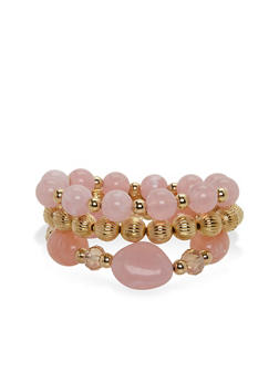 Set of 3 Marble Bead Stretch Bracelets - 3193035151002