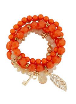 Set of 5 Stretch Beaded Charm Bracelets - 3193035153382