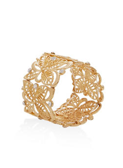Metallic Stretch Bracelet with Rhinestones - 3193035154552