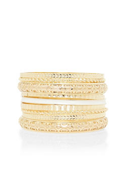Plus Size Set of 9 Multi Textured Bangles - 3193035157245