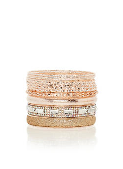 Multi Textured Bangles Set - 3193057691669