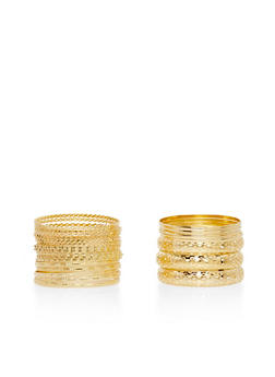 Plus Size Set of Multi Textured Wavy and Woven Bangles - 3193057692922