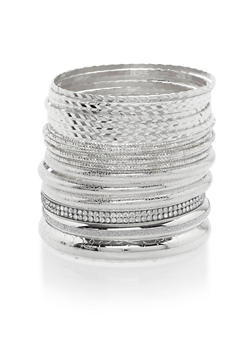Plus Size Set of 21 Multi Textured Bangles - 3193057693922