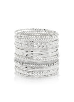 Plus Size Multi Textured Bangles Set - 3193057694109