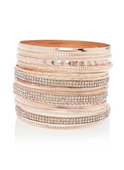 Plus Size Textured Bangles Set - 3193057694113