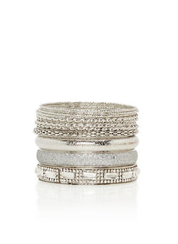 Plus Size Set of Assorted Twist and Etched Bangles - 3193057696696