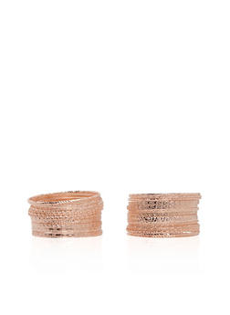 Plus Size Set of Multi Textured Bangles - 3193057699822