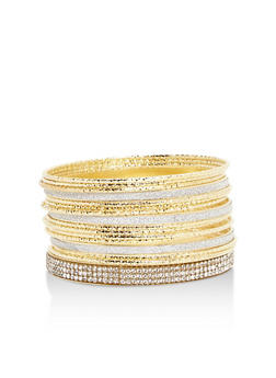 Set of Assorted Textured Bangles - 3193062810274