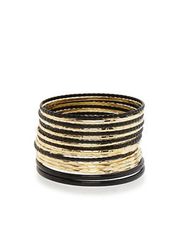 Plus Size Two Toned Bangles Set - 3193062814177