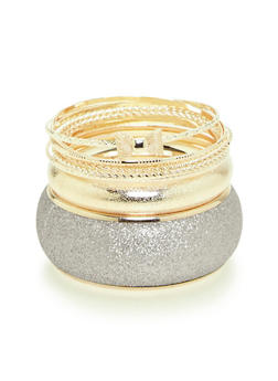 Plus Size Set of Glitter and Etched Metallic Bangles - 3193062920049