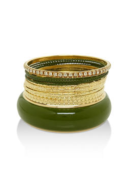 Plus Size Set of 13 Assorted Bangles - 3193062920607