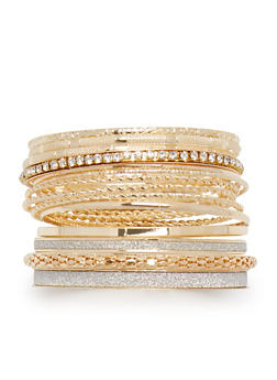 Plus Size Assorted Glitter and Multi Textured Bangles - 3193062920890