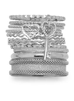 Set of 12 Assorted Glitter and Embossed Bangles - 3193062920966