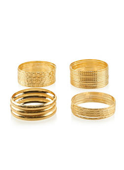 Plus Size Etched Metallic Bangles Set - 3193062921333