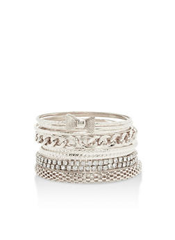 Plus Size Set of Multi Textured Bangles - 3193062921428