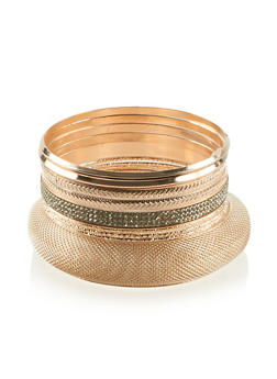 Plus Size Set of 9 Mesh Etched and Rhinestone Bangles - 3193062921662