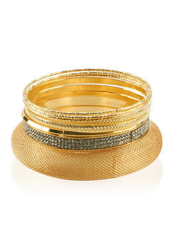 Set of 9 Mesh and Multi Textured Bangles - 3193062922661