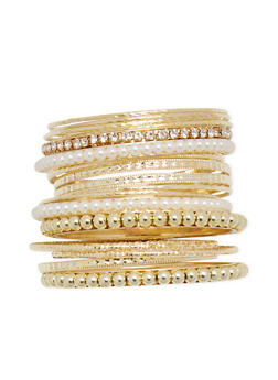 Plus Size Set of 17 Multi Textured Bangles - 3193062923949