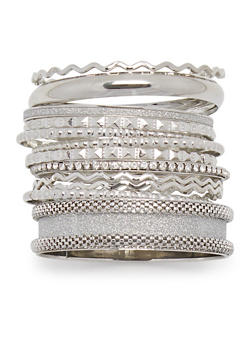 Plus Size Set of 12 Multi Textured Glitter and Rhinestone Bangles - 3193062925490