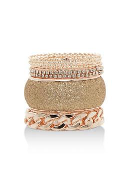 Plus Size 7 Assorted Multi Textured Bangles - 3193062925526