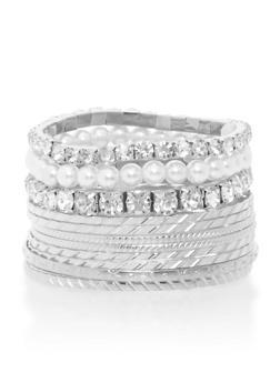 Plus Size Set of 12 Multi Textured Bracelets - 3193062926325